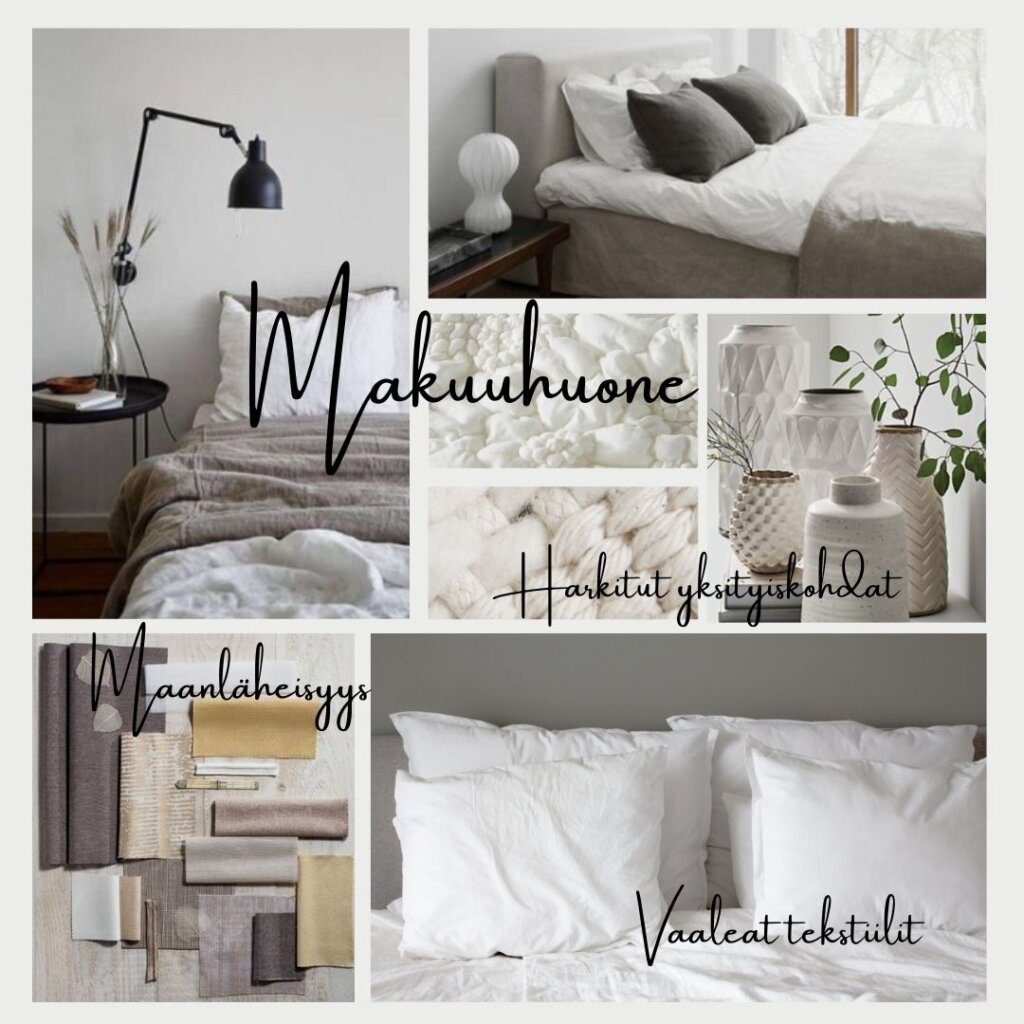 Makuuhuoneen moodboard - vaaleat sävyt.
