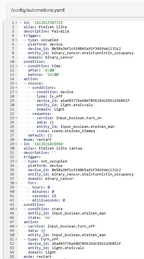 Home Assistant YAML-koodia automaatioista.
