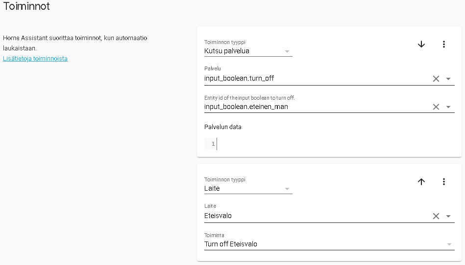 Home Assistant automaation toiminnot.